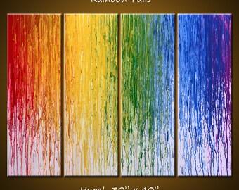 Large wall art / Abstract Art Rainbow Painting Original Large Modern Art Wall Decor / Amy Giacomelli / Large paintings / Rainbow art