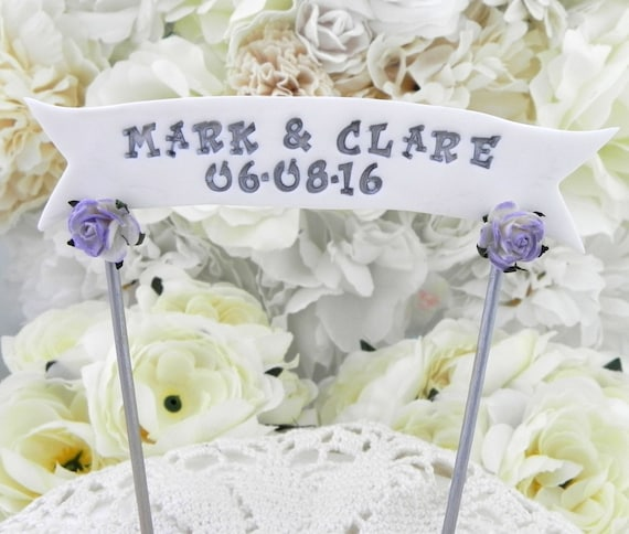 Wedding Cake Topper Banner - YOUR NAMES or Custom Phrase, White, Lilac and Grey