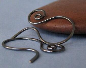 Oxidized Small Swirly Hoop Earwires, Handmade Interchangeable Earrings, Sterling Silver