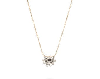 Smoky quartz sterling silver and gold filled oriana necklace