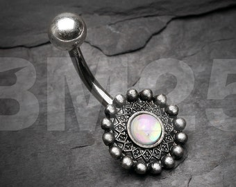 Vintage Rustica Orbit Opal Sparkle Belly Button Ring