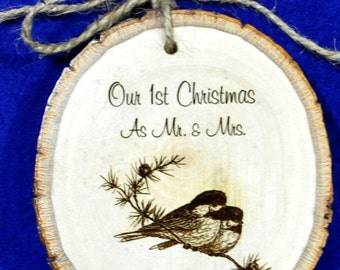 First Christmas ~ First Christmas Ornament ~ Engraved Wood Ornament ~ Couple Ornament ~ First Christmas As Mr and Mrs ~ Personalized Gifts ~