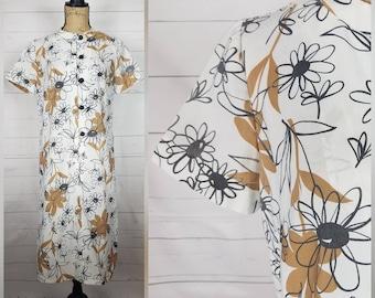 Vintage 1950s White, Black, & Caramel Brown Floral Rayon Shift Sheath Dress