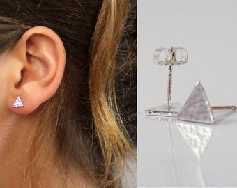 Small Triangle stud earrings, Sterling Silver stud , Geometric Studs , Minimal Earrings,