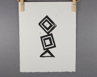 Geometric linocut art PRINT Modern Black Rectangles and Triangles Linocut 8x10 tribal style