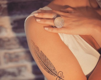 BOHO GOLD TATTOOS, Fake tattoos Gold & Silver, flowers and feathers tattoos, Temporary Jewelry, Metallic Tattoos Gold and Silver