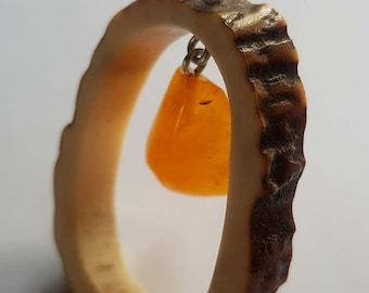 Natural red deer antler pendant with Baltic amber