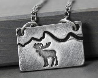 Moose Necklace, Mountain Range Necklace, Mountain Necklace, Tetons Necklace, Wyoming Jewelry, Pewter Necklace, Hand Stamped Jewelry, Stamped