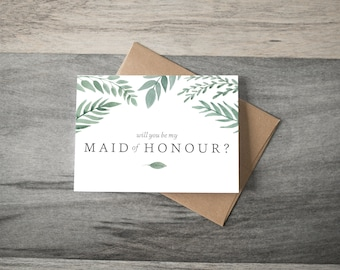 Will you be my Maid of Honour Wedding Card - greenery