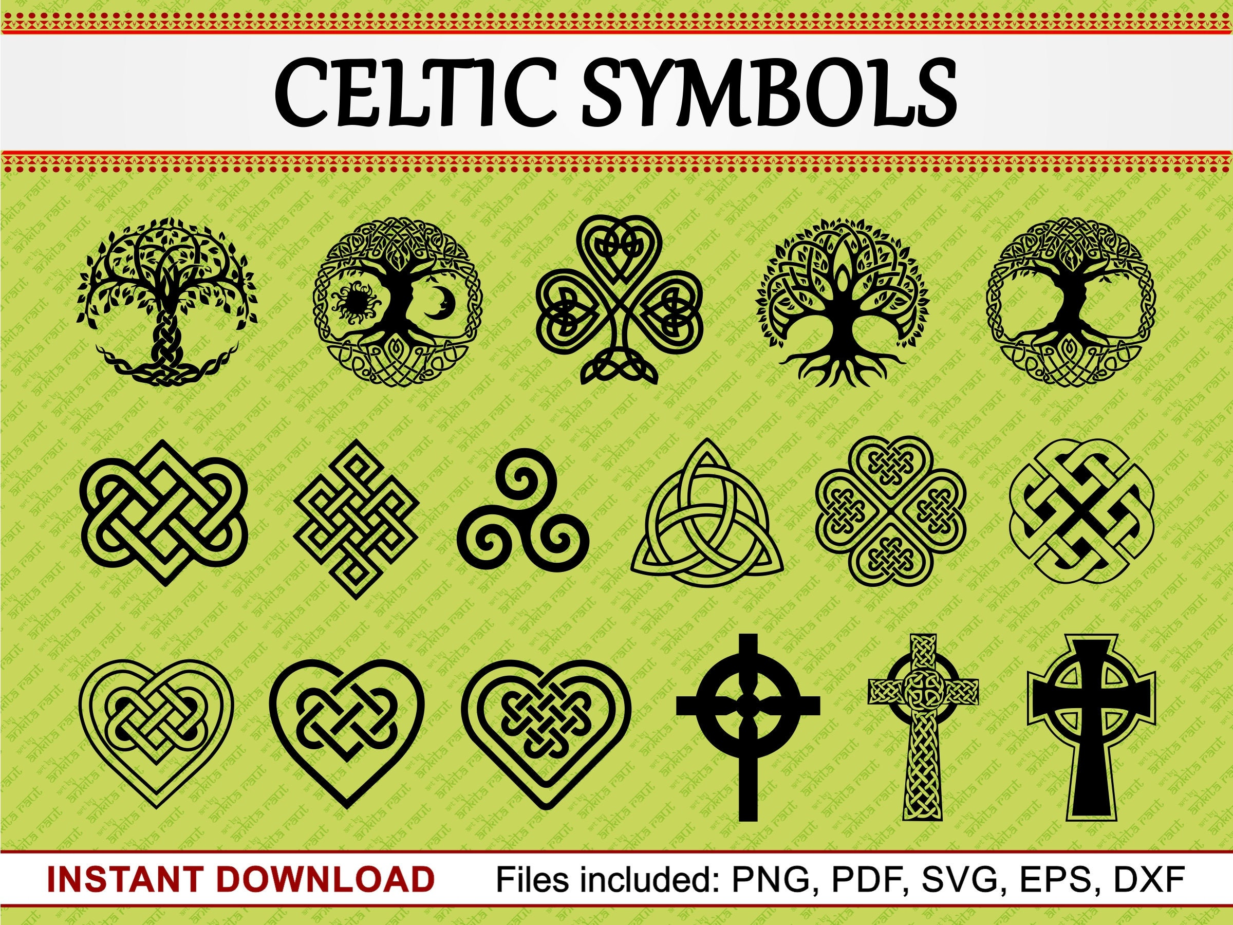 Celtic symbols set of 17 commercial use cliparts celtic zoom buycottarizona Images