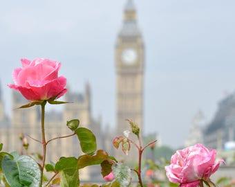 Big Ben and Roses print Digital Download