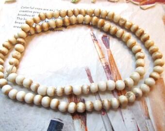 Mala Bone Beads, Tea Stained, Antiqued Carved Buffalo Bone Beads, 4mm, Tribal Beads, 1 Strand