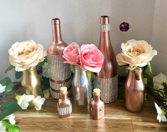 Rose Gold Wedding Decor, Metallic Champagne, Gold, Silver, Centerpieces, Mix and Match Bottles, Silver and Gold, Mothers Day, Bridal Shower