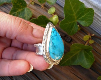 Sleeping Beauty Turquoise Ring, Sterling Silver, Arizona Turquoise, Size 7, Blue Stone Ring, Teardrop, Wide Band Ring, Bohemian Ring,