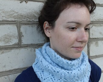 Light blue knit scarf Gothic lace blue cowl scarf Neck warmer knitted scarf infinity cable scarf womens hand knit snood Christmas gift