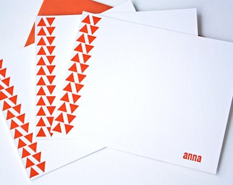 Personalized Letterpress Stationery Triangles Rust Orange