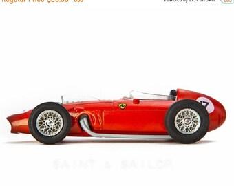 FLASH SALE til MIDNIGHT Red Ferrari Vintage Race Car on White Background, One Photo Print, Boys Room decor, Vintage Car Prints