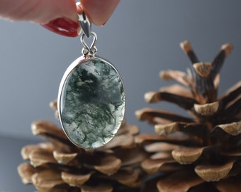 Sterling Silver Moss Agate Pendant with Chain