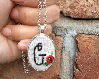 Embroidery Initial Necklace, Embroidery Necklace, Personalized Necklace, Bridesmaid Necklace, Initial Ring, Monogram Necklace, Teacher Gift