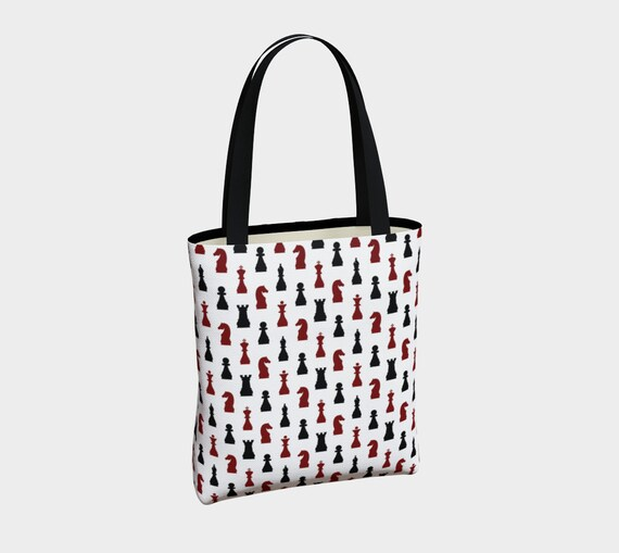 unique black red and white chess canvas Gothic tote bag