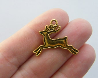 6 Reindeer charms antique gold tone GC431