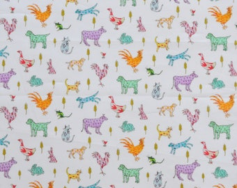 Liberty fabric Tana Lawn Farmyard Tails  - 9x26'' green,yellow,pink - 2017 Collection - The Little Land of Rhyme