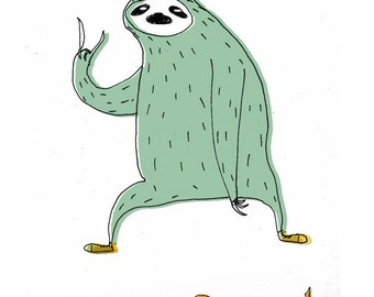 Party sloth A4 print.