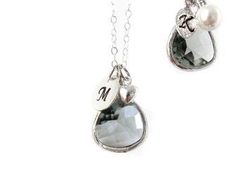Grey bridesmaids necklace Silver necklace Perzonalized Necklace Grey Charm Necklace Grey Jewel Necklace Grey Bracelet Initial necklace