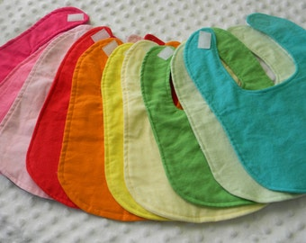 10 wholesale Boutique Handmade Flannel Rainbow Baby Bibs in Solid Colours