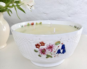 Vintage large white floral hand painted bone china bowl with citrus (orange, grapefruit, lemon) essential oil scented natural soy wax candle