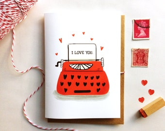 Typewriter Card - Customizable Wording, I Love You, etc