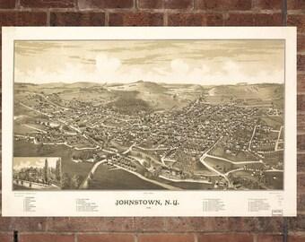 Vintage Johnstown Photo, Johnstown Map, Aerial Johnstown Photo, Old Johnstown Map, Johnstown Artist Rendering, Johnstown Poster, NY Artwork