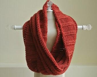 Hand Knit Infinity Scarf - Pumpkin / Rust Colour