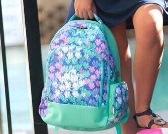 Personalized Backpack Purple Mint Seashells Monogram Backpack
