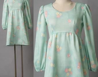 Mod Dress, 60s Dress, Vintage Babydoll dress, Vintage Mint Green Dress, 60s Go Go Dress, Mod mini dress,Vintage Floral Dress,Mod 60s Dress S