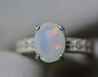 Opal Ring, 1.85 Carat Solid Faceted Opal Ring Appraised at 1,100.00, Sterling Silver, Genuine Opal Jewellery, October Birthstone, Size 7