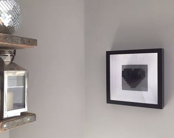 Framed Black LEGO Heart. Perfect Gift for Valentines, Mother's Day, Wedding, Anniversaryor Birthday.