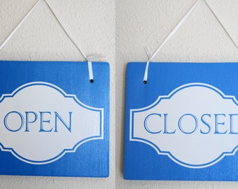 "Open Closed Sign Double Sided Hanging Wood Sign 11""x9"" Decoration 1 double-sided Sign Blue Board White Lettering"
