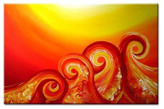 Landscape abstract art painting mix-media / Butterfly Garden Flower Petals Acrylic
