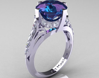 French Vintage 14K White Gold 3.0 CT Russian Alexandrite Diamond Bridal Solitaire Ring Y306-14KWGDAL