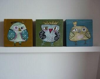 Three beautiful, funny owl paintings on 3D wood(10 x 10 cm)