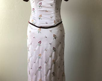 Embroidered Silk Corset Top & Skirt, Corset top and skirt,