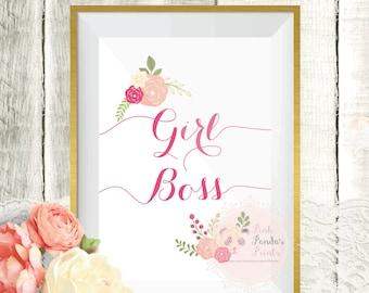 Girl Boss, inspirational, feminist, wall art, quote, office, home, decor, print, art, sign, poster, motivational