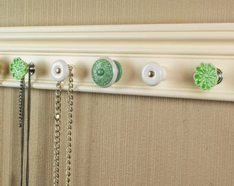READY to SHIP Jewelry organizer This necklace hanger has 9 decorative cabinet knobs in shades of green on off white great gift for mom