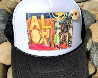NEW Trucker Hat, ALOHA SUN, limited ed. w/pin back, Aloha, Beach, Surf, Sun, Hawaii, Summer,One Size Fits All, foam trucker hat, Best Seller