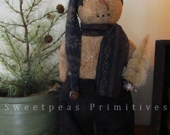 NEW Primitive Winter Christmas Standing Snowman Doll PDF E-Pattern ~ Sweetpeas Primitives