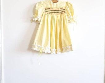 Vintage Yellow Smocked Dress