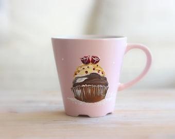"""Large mug pink blush """"pink cupcake"""" C.Kim"""