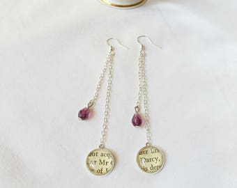 Drop Earrings Swarovski Crystal - Jane Austen Bridal Jewellery Jewelry - Shoulder Duster Literary Bookish