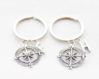 Best Friend Compass Keychains BFF Keychains Nautical Compass Key Rings Friendship jewelry Personalized initial monogram Accessories Keychain